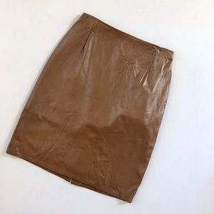 FIRENZE Vintage Brown Leather Pencil Skirt